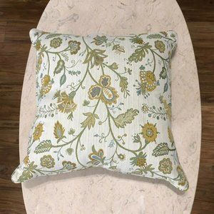Pillow Jacobean Damask Floral Down FIlled